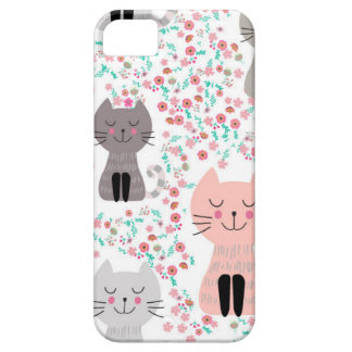 Vintage cute kitty cat in flower garden barely there iPhone 5 case