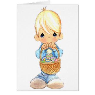 Vintage Cute Little Boy and Easter Egg Basket Card