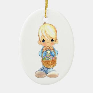 Vintage Cute Little Boy and Easter Egg Basket Ceramic Ornament