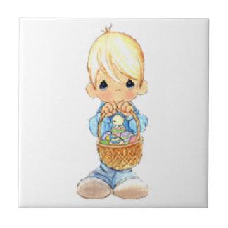 Vintage Cute Little Boy and Easter Egg Basket Ceramic Tile