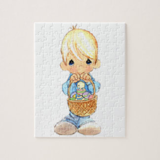 Vintage Cute Little Boy and Easter Egg Basket Jigsaw Puzzle
