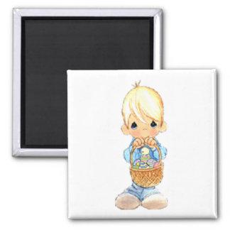Vintage Cute Little Boy and Easter Egg Basket Magnet