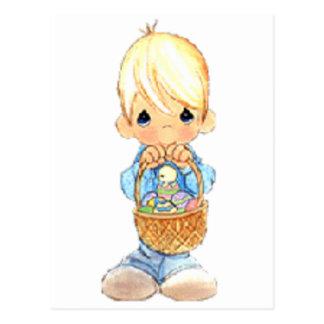 Vintage Cute Little Boy and Easter Egg Basket Postcard