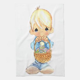 Vintage Cute Little Boy and Easter Egg Basket Tea Towel