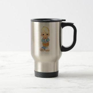 Vintage Cute Little Boy and Easter Egg Basket Travel Mug