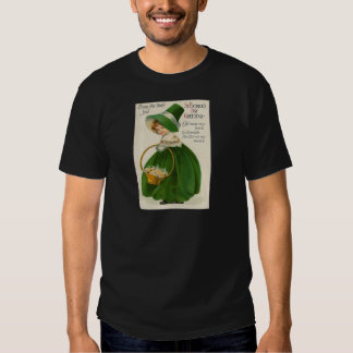 Vintage cute Little Girl In Green St Patrick's Day Tshirts