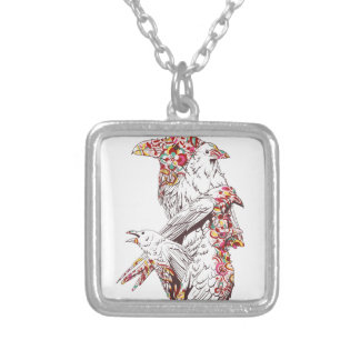vintage cute parrots and animals silver plated necklace
