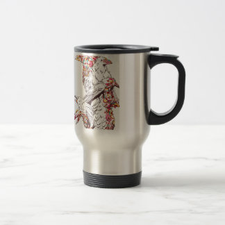 vintage cute parrots and animals travel mug