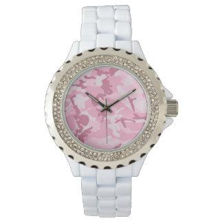 Vintage Cute Pink Camouflage Pattern Watch