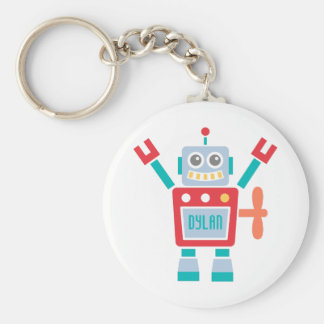 Vintage Cute Robot Toy For Kids Basic Round Button Key Ring