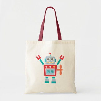 Vintage Cute Robot Toy For Kids Budget Tote Bag