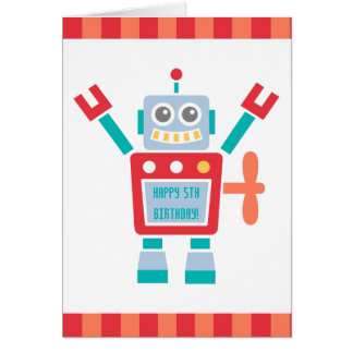 Vintage Cute Robot Toy Happy Birthday Greeting Card