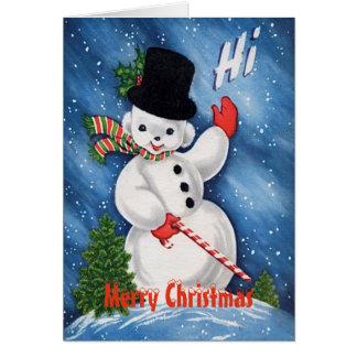Vintage Cute Snowman Merry Christmas Card