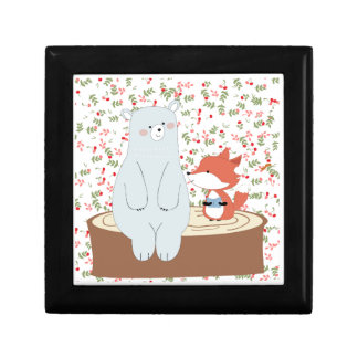 Vintage cute spring summer fox wolf and teddy bear gift box