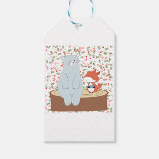 Vintage cute spring summer fox wolf and teddy bear gift tags