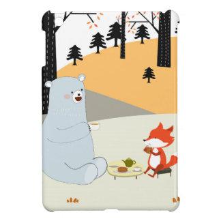 Vintage cute spring summer fox wolf and teddy bear iPad mini cover