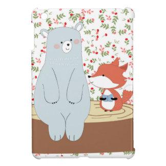 Vintage cute spring summer fox wolf and teddy bear iPad mini covers