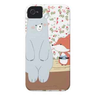 Vintage cute spring summer fox wolf and teddy bear iPhone 4 Case-Mate case