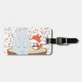 Vintage cute spring summer fox wolf and teddy bear luggage tag