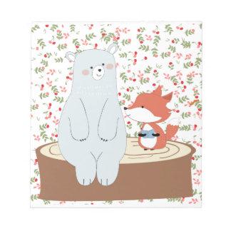 Vintage cute spring summer fox wolf and teddy bear notepad