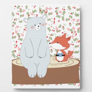 Vintage cute spring summer fox wolf and teddy bear plaque