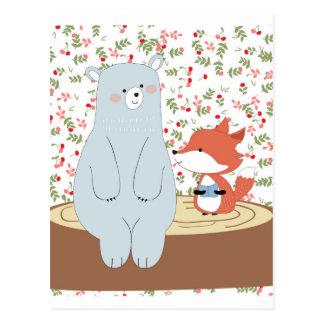 Vintage cute spring summer fox wolf and teddy bear postcard