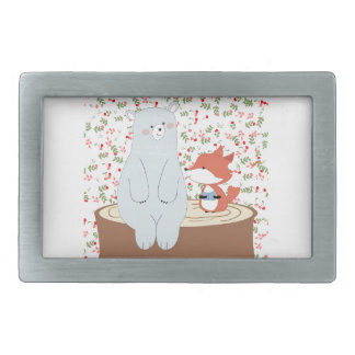 Vintage cute spring summer fox wolf and teddy bear rectangular belt buckle