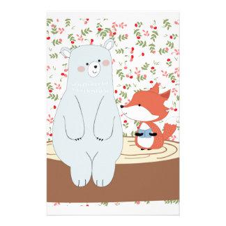 Vintage cute spring summer fox wolf and teddy bear stationery