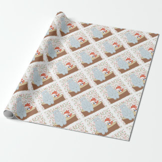 Vintage cute spring summer fox wolf and teddy bear wrapping paper
