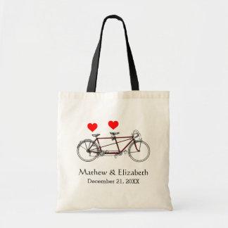 Vintage Cute Tandem Bicycle Custom Wedding Budget Tote Bag