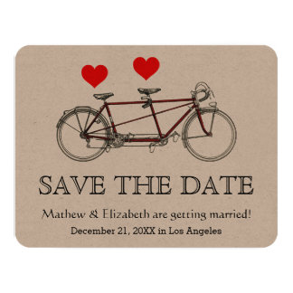 Vintage Cute Tandem Bicycle Wedding Save The Date Card