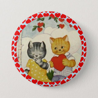 Vintage Cute Valentine Heart and Cat Couple 7.5 Cm Round Badge