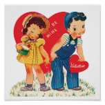 Vintage Cute Valentine's Day, Boy and Girl Hearts Poster