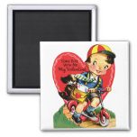 Vintage Cute Valentine's Day, Boy on Scooter Square Magnet