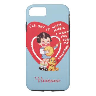 Vintage Cute Valentine's Day, Child Music Banjo iPhone 7 Case