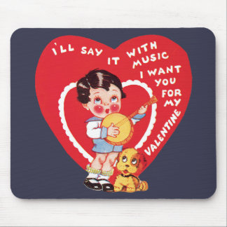 Vintage Cute Valentine's Day, Child Music Banjo Mouse Pad