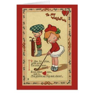 Vintage Cute Valentine's Day, Children Sports Golf Card
