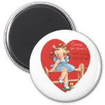Vintage Cute Valentine's Day, Girl on Fence 6 Cm Round Magnet