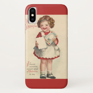 Vintage Cute Valentines Day, Girl with Love Letter iPhone X Case