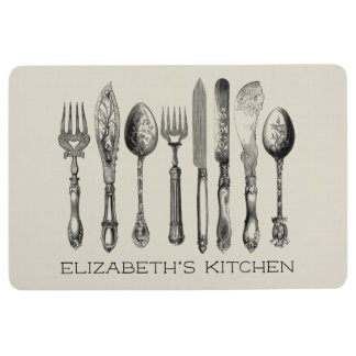 Vintage Cutlery and Your Name Kitchen Floor Mat