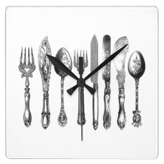 Vintage Cutlery Black White Fork Spoon Knife 1800s Clocks