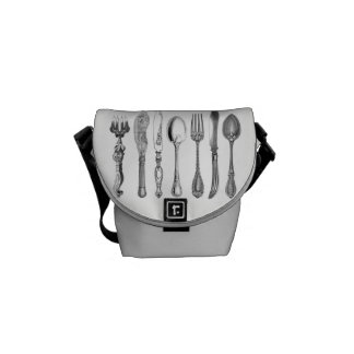 Vintage Cutlery Graphic Messenger Bags