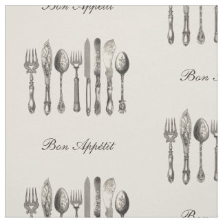Vintage Cutlery Old Fashioned Print Personalized Fabric