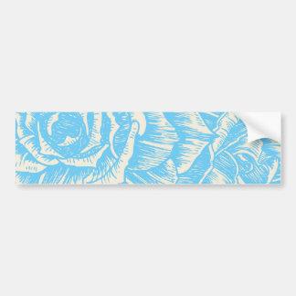 Vintage cyan blue roses floral bumper sticker