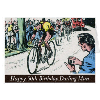 Vintage Cycling Print Card