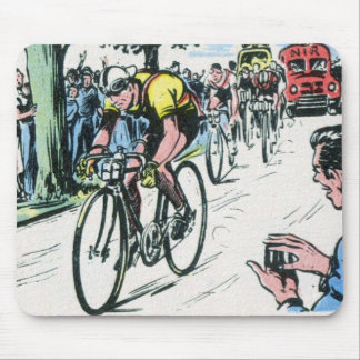 Vintage Cycling Print Mouse Pad