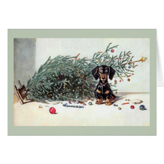 Vintage Dachshund Toppled Christmas Tree Card