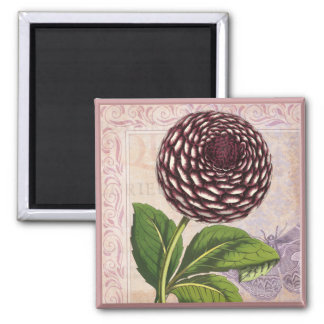 Vintage Dahlia Botanical Collage Damask Background Magnet