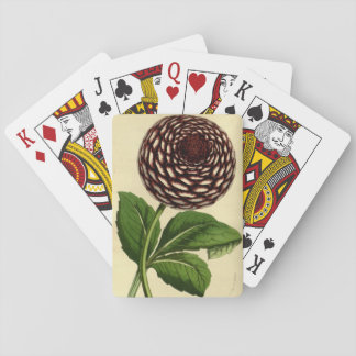 Vintage dahlia red flower playcards playing cards