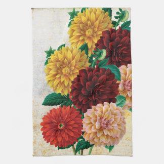 Vintage Dahlias Tea Towel